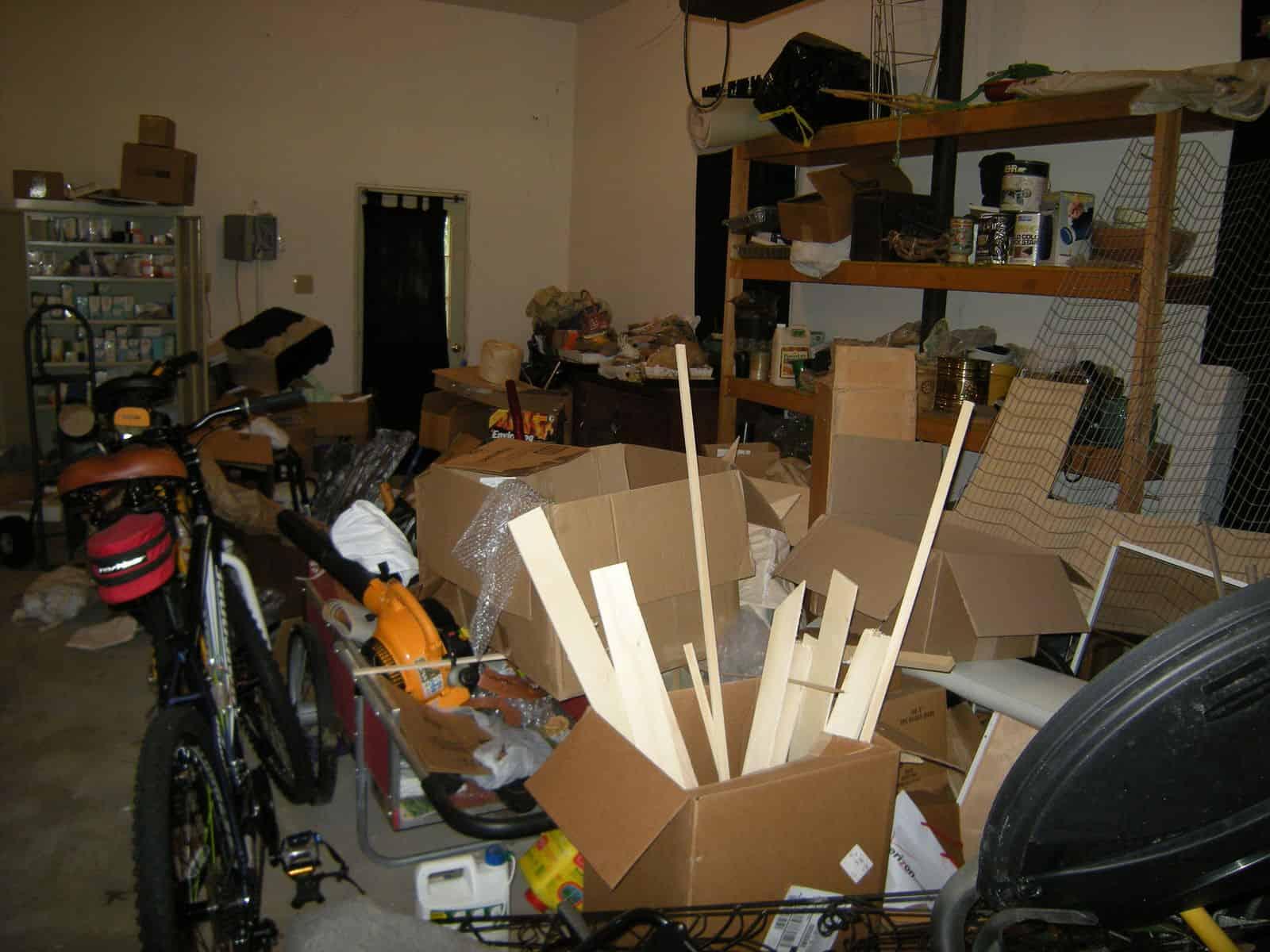 shelving in an disorganized garage