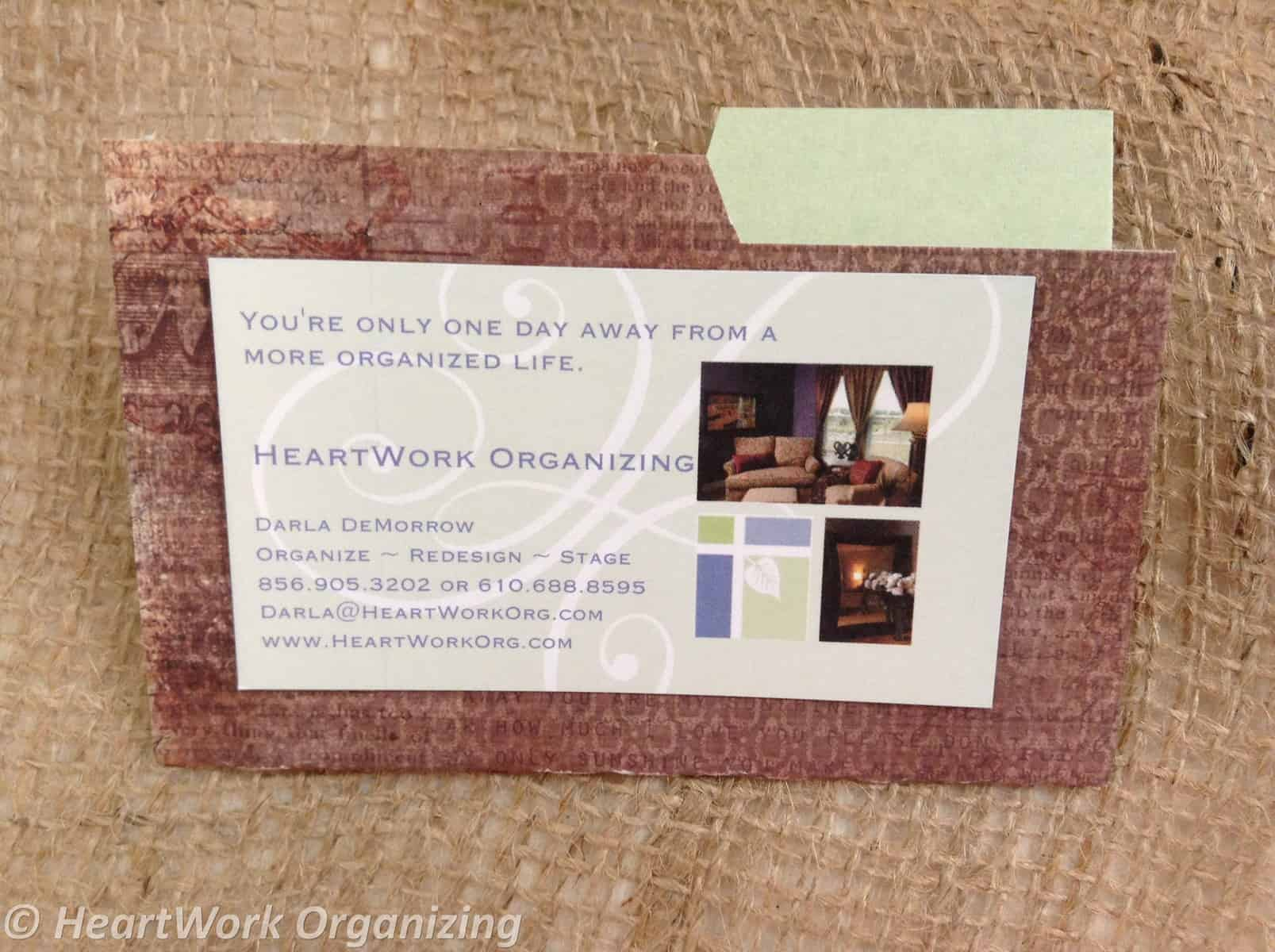 Mini-folder Tutorial to Hold Business Cards | HeartWork Organizing ...