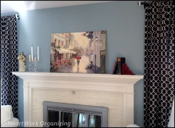 decorating mantel with art