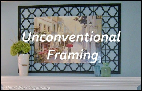 Unconventional framing for mantel art