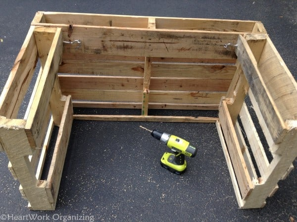 using Ryobi drill to secure lemonade stand parts