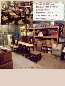 Organizing Basement- before and after