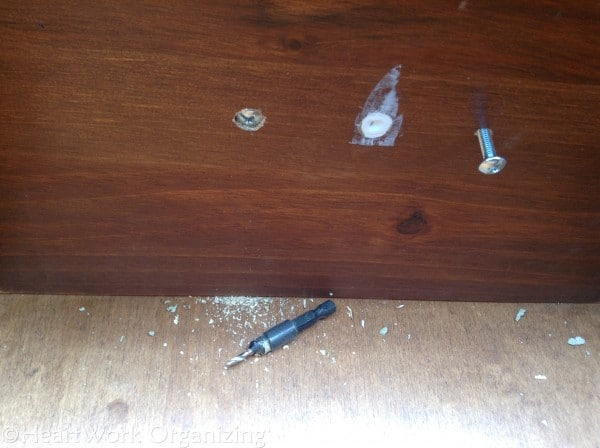 File Cabinet Makeover with Annie Sloan Chalk Paint (18) countersink drill bit