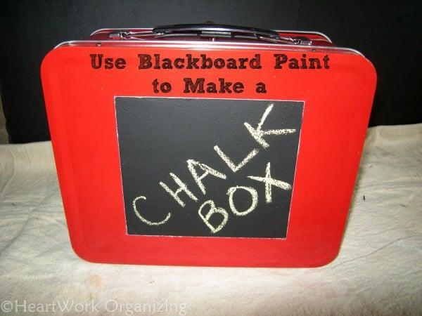 Blackboard paint, storage box