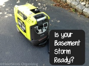 basement preparedness, storm ready with Ryobi generator