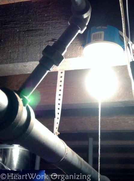 basement lighting updates to help organize