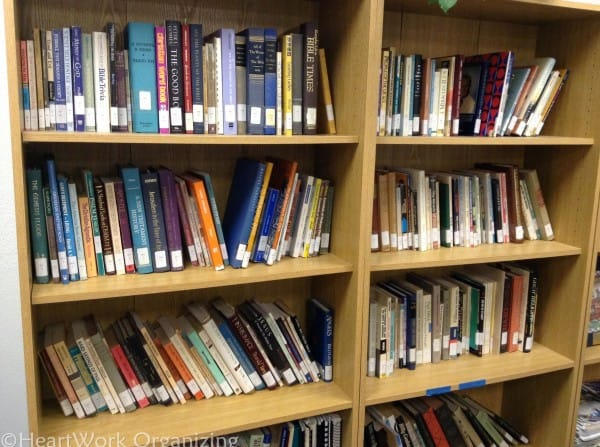 organizing bookshelves