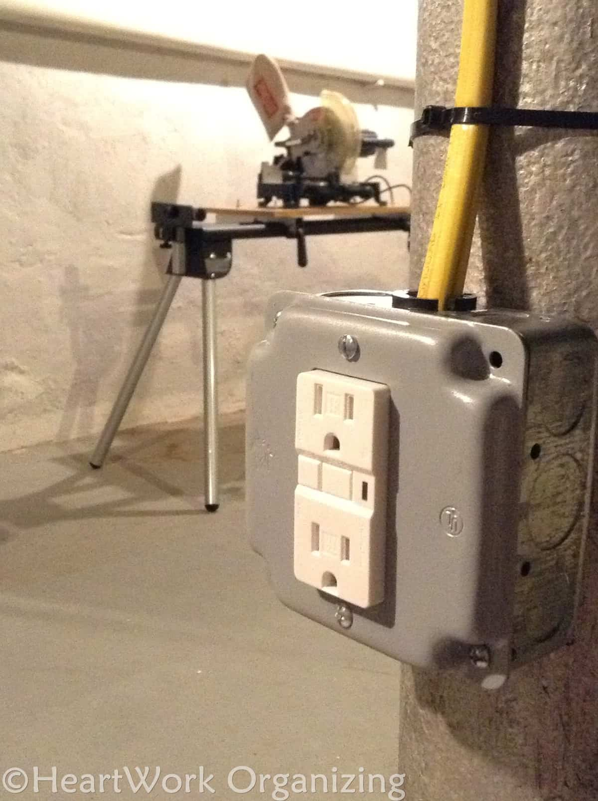 electrical outlet updates in basement for tools