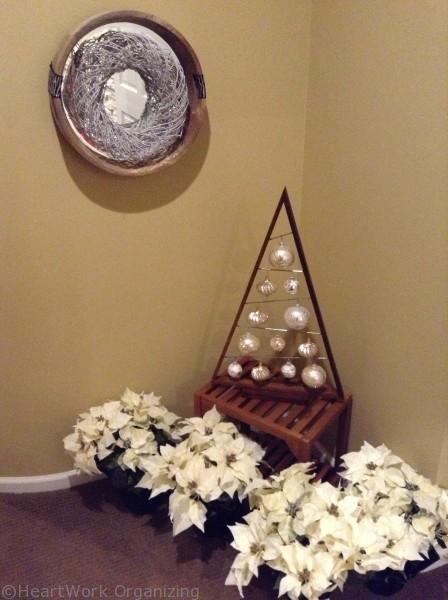 wreath form hung inside a mirror for holiday wreath ideas