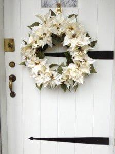 Silk poinsettia holiday wreath