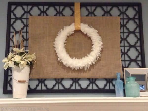 feather holiday wreath on burlap
