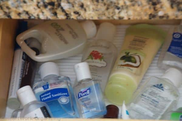 hand sanitizer in the junk drawer