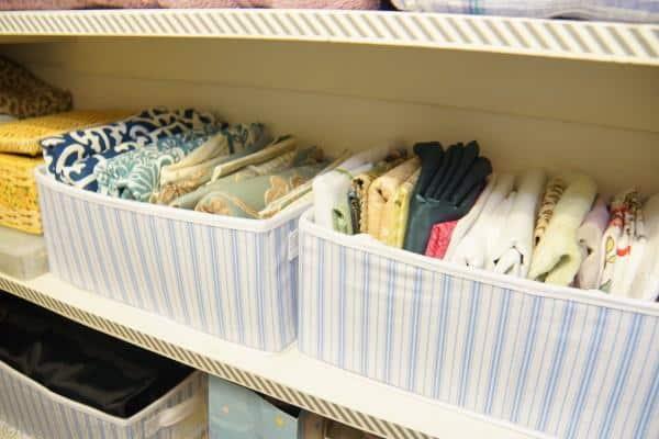 fabric storage, organize a linen closet