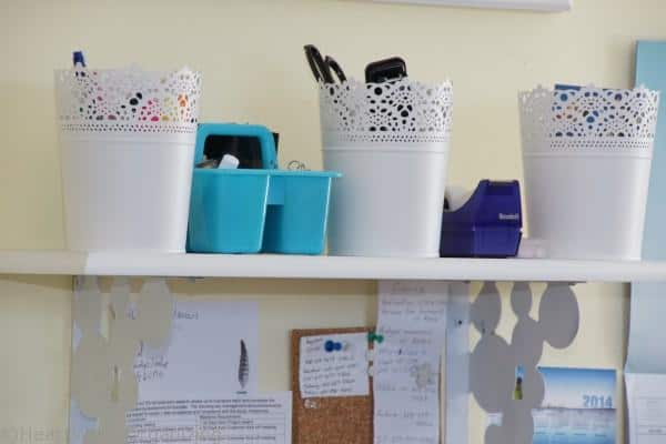 organized shelf in office playroom makeover