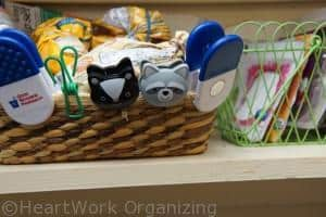 storing bag clips in the pantry