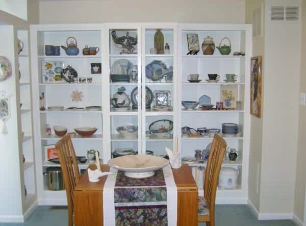Billy Bookcase displays dishes