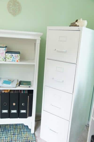 Home Office File Cabinet painted with Annie Sloane Decorative Chalk Paint