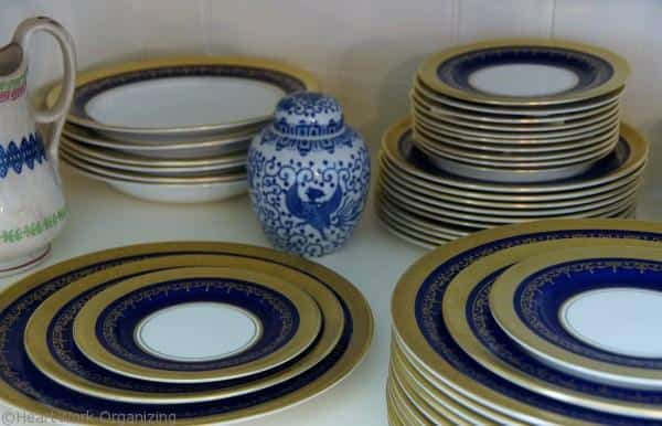 place settings in a china cabinet