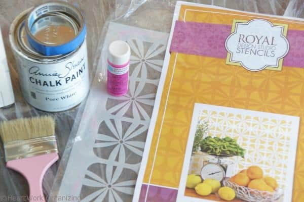 Materials for nightstand makeover, Annie Sloan Chalk Paint® and Royal Design Studio stencils