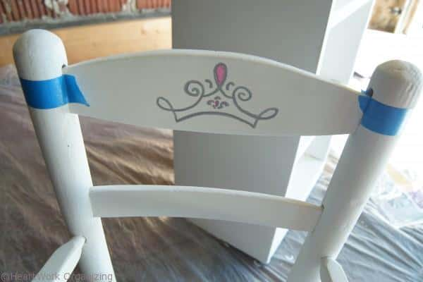 tape off for color dip on princess chair