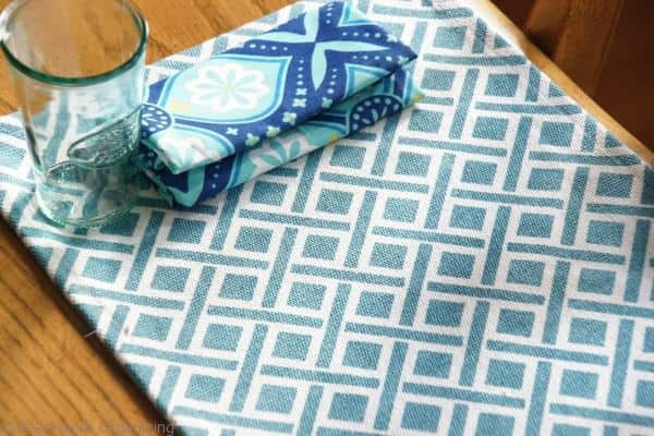 blue HomeGoods place mats