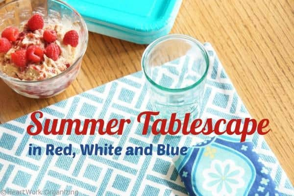 Non-Traditional red white and blue table setting