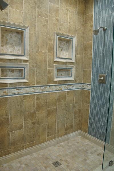 blue glass tile shower for spa bath renovation