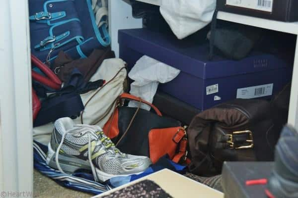 the floor of the closet need organizing