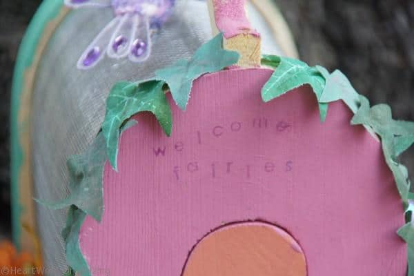 welcome fairies sign at fairy house