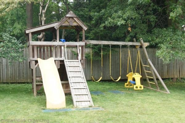 Before: How to stain a swing set