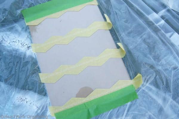 Rust-Oleum Mirror finish and Frogtape Shape tape for mirrored memo board