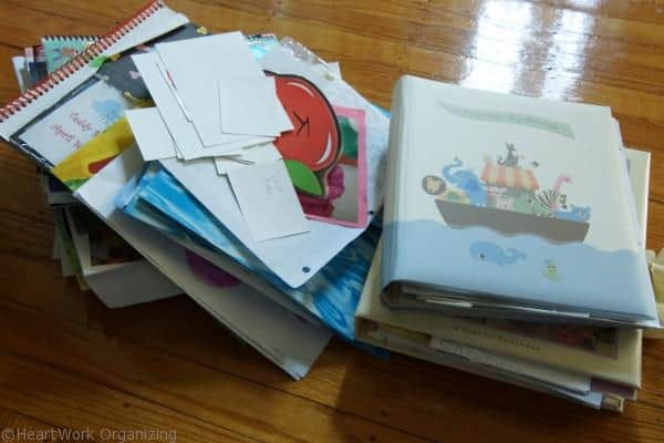 Use a three ring binder for baby's keepsakes