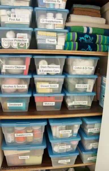 medical supplies in an organized bathroom closet