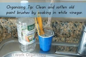 Clean old paint brushes with white vinegar