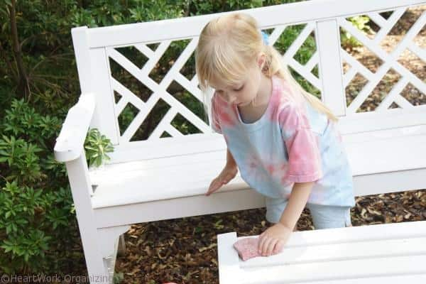 cleaning up white porch furniture