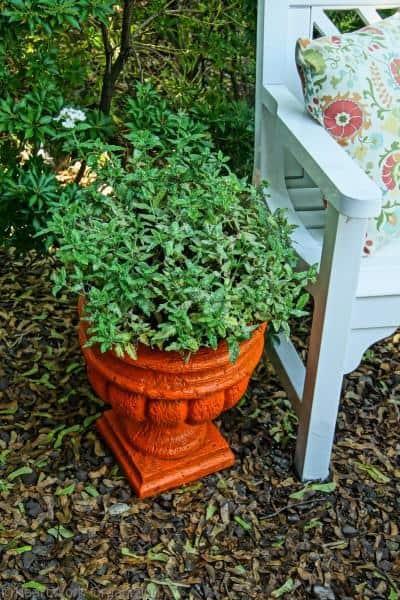 orange planter next to white porch furniture