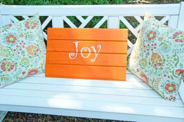 hand-lettered sign in front porch decor