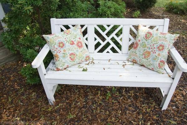 BEFORE white porch furniture cleaned with Tide Oxi