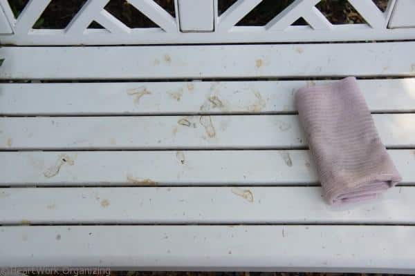 cleaning white porch furniture