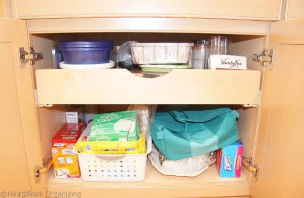 organizing cabinets with pull out shelves