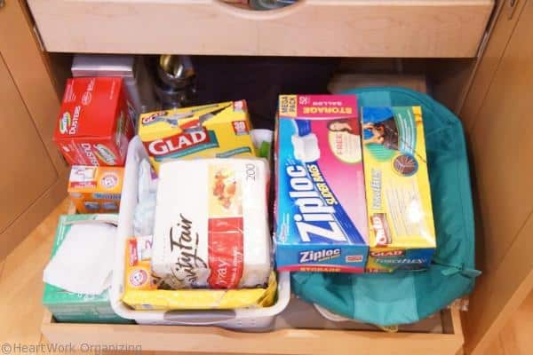 organizing shelves with pull outs