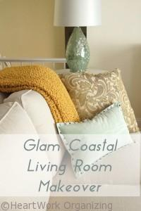glam coastal makeover living room
