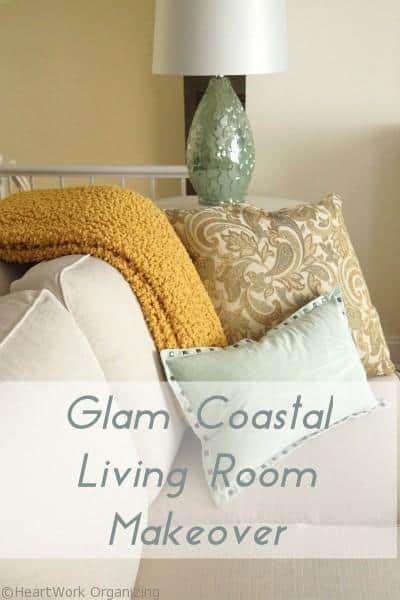 glam coastal makeover living room