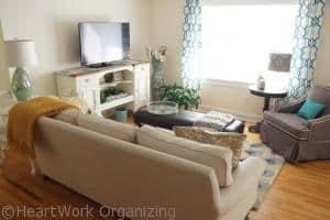 glam coastal living room makeover after