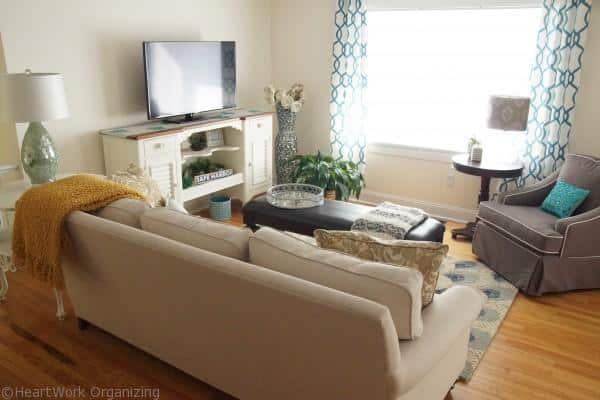 glam coastal living room makeover after