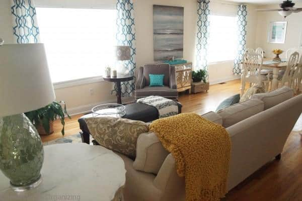 Glam coastal living room makeover