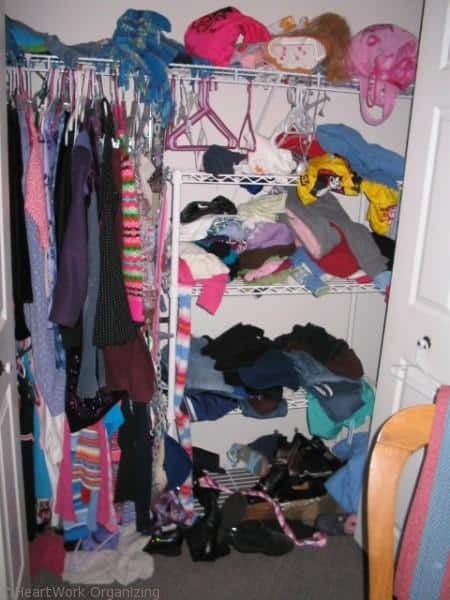 How to organize a teen's closet (before)