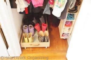 DIY Rolling Boot Tray organizing