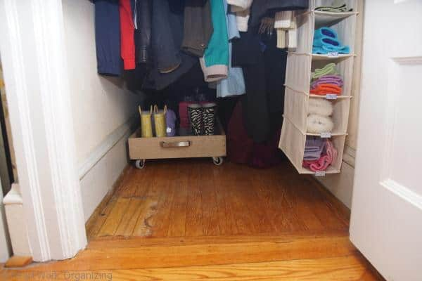 DIY Rolling Boot Tray in closet