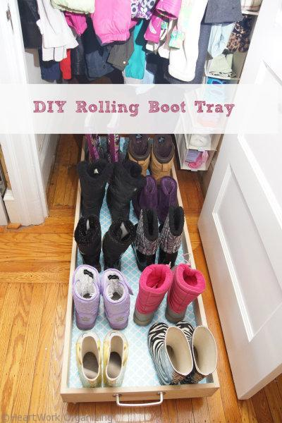 DIY Rolling Boot Tray